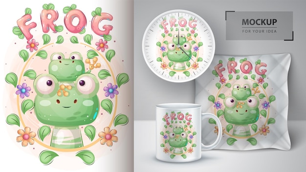 Nettes froschfamilienplakat und merchandising