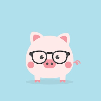 Nettes geek piggy, jahr des schweins.