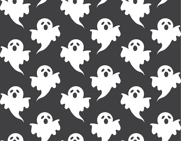 Nettes geistmuster nahtlos und tapetendesign für halloween-tag