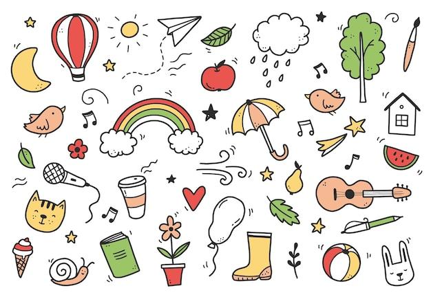 Nettes gekritzel mit wolke, regenbogen, sonne, tierelement. handgezeichnete linie kinderstil. doodle-hintergrund-vektor-illustration.