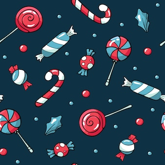 Nettes gekritzel weihnachtsbonbonmuster
