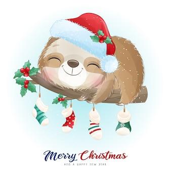 Nettes gekritzelfaultier für weihnachtstag mit aquarellillustration