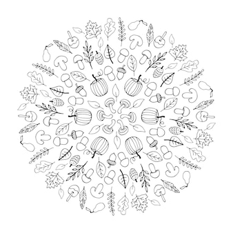 Nettes gekritzelherbstmandala mit blättern, pilzkörben, kürbissen auf weißem hintergrund