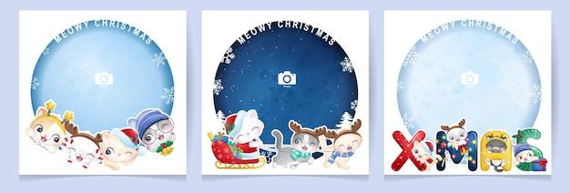 Nettes gekritzelkätzchen für weihnachtstag mit fotorahmensammlung