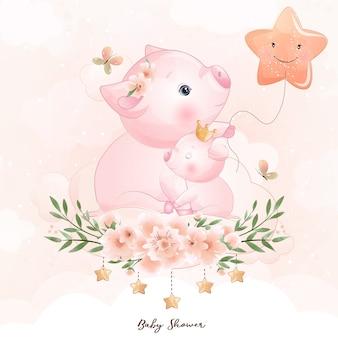 Nettes gekritzelschweinchen mit blumenillustration