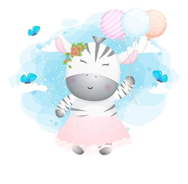 Nettes gekritzelzebra, das in der luft mit ballonzeichentrickfigur fliegt