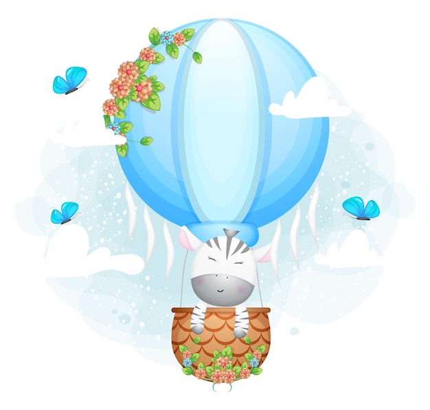 Nettes gekritzelzebra, das in der luftballon-zeichentrickfigur fliegt
