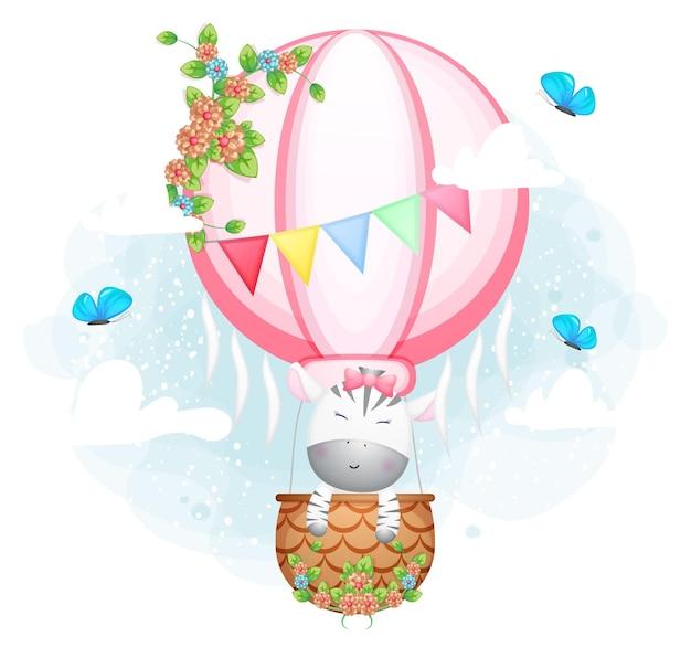 Nettes gekritzelzebramädchen, das in der luftballonkarikaturfigur fliegt