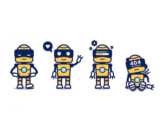 Nettes gelbes retro-roboter-ki-karikaturcharakter-maskottchen-posen-set