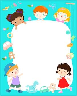 Nettes gemischtrassiges kinderplakatdesign.