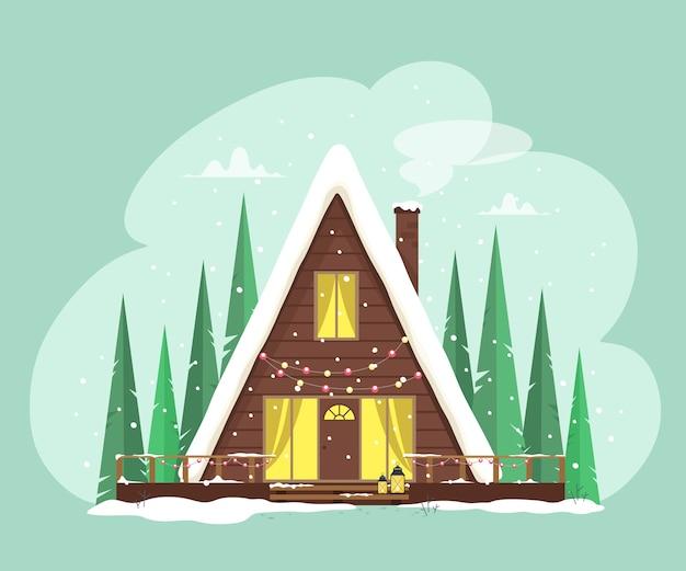 Nettes, gemütliches haus mit girlandenlichtern dekoriert. fröhliche weihnachten. festliche einrichtung. illustration im cartoon-stil.