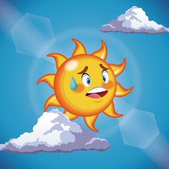 Nettes gesicht der charaktersonne - karikatur im blauen himmel