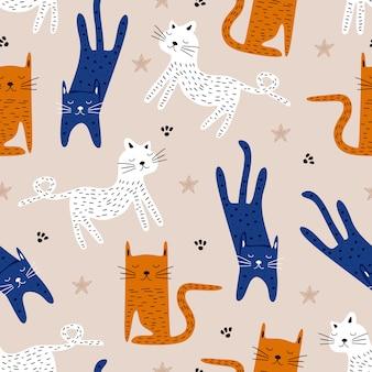 Nettes gezeichnetes kindisches zeichnungsmuster der katze hand