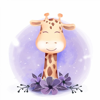 Nettes giraffen-porträt-lächeln mit blumen