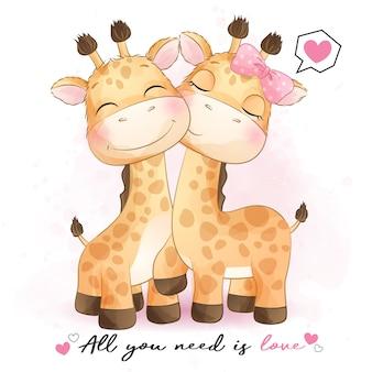 Nettes giraffenpaar mit aquarellillustration