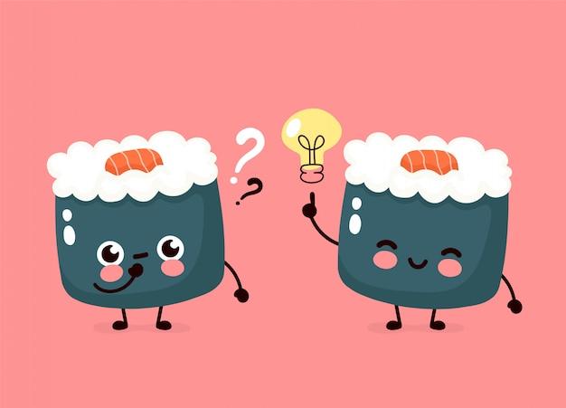 Nettes glücklich lächelndes sushi, rolllauf mit glühbirne und fragezeichen. handzeichnung stil illustration karte desgin. auf weißem hintergrund isoliert. asiatisches, japanisches, chinesisches nahrungsmittelkonzept