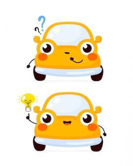 Nettes glückliches gelbes automobilauto mit fragezeichen und ideenglühlampe. flache zeichentrickfigur illustration symbol. isoliert auf weiss. automobilauto charakter