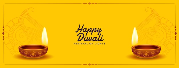 Nettes glückliches gelbes diwali-banner mit realistischem diya