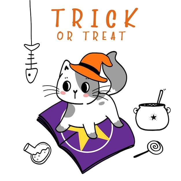 Nettes glückliches halloween-kätzchen-katzenkostüm, süßes oder saures mit spinne, doodle-flache vektorillustrationsidee für grußkarte, kind tshirt