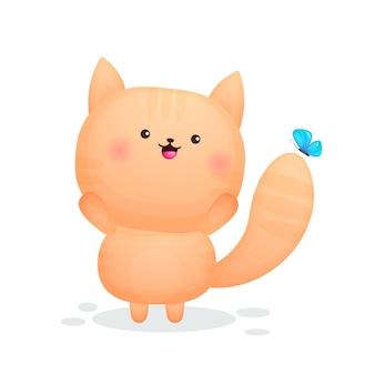 Nettes glückliches kätzchen, das mit schmetterlingskarikatur spielt