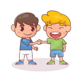 Nettes glückliches kind, das händeschütteln mit freund tut