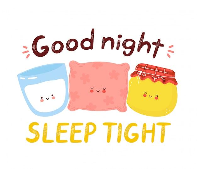 Nettes glückliches kissen, milch und honig. gute nacht schlafen enge karte. auf weißem hintergrund isoliert. hand gezeichnete artillustration der zeichentrickfigur