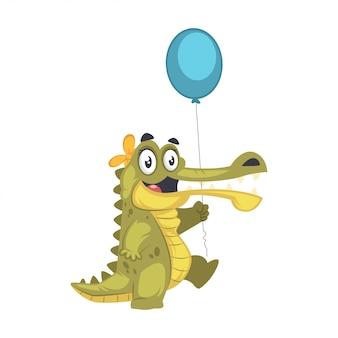 Nettes glückliches krokodil, das einen ballon hält