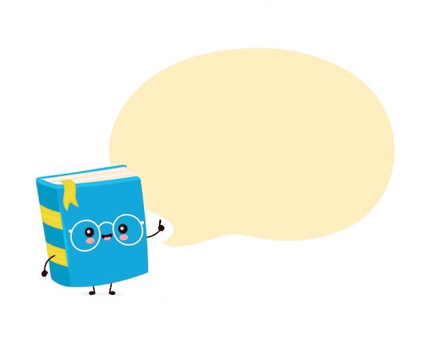 Nettes glückliches lächelndes buch mit sprechblase. flache karikaturfigur illustration design.isolated auf weißem hintergrund. buch, bildungskonzept