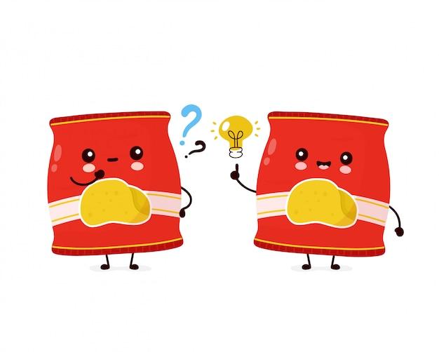 Nettes glückliches lächelndes chipspack mit fragezeichen und ideenglühbirne. cartoon charakter illustration icon design.isolated auf weißem hintergrund
