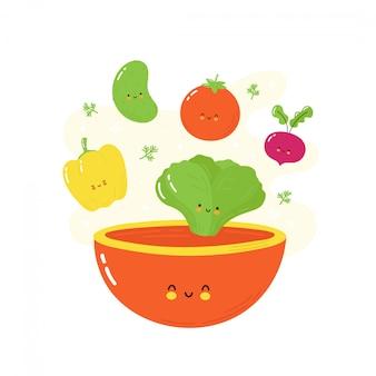 Nettes glückliches lächelndes gemüse, das in salatschüssel fällt. isoliert auf weiss vektorzeichentrickfilm-figur-illustrationsdesign, einfache flache art.