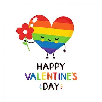 Nettes glückliches lächelndes regenbogen lgbt-herz mit der grußkarte des blume valentinsgrußes