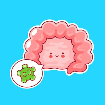 Nettes glückliches lustiges menschliches darmorgan und sprechblase mit guten bakterien
