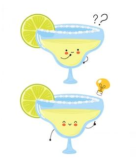 Nettes glückliches margarita-cocktailglas mit fragezeichen und ideenglühbirne. auf weißem hintergrund isoliert. hand gezeichnete artillustration der zeichentrickfigur