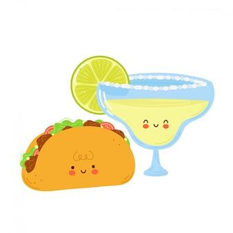 Nettes glückliches margarita-cocktailglas und taco. auf weißem hintergrund isoliert. hand gezeichnete artillustration der zeichentrickfigur