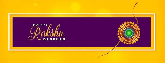 Nettes glückliches raksha bandhan traditionelles gelbes banner