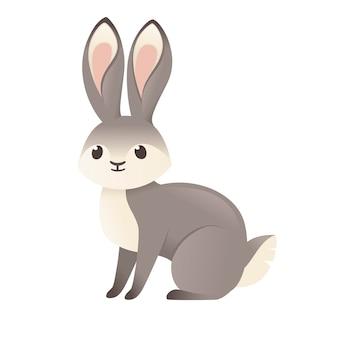 Nettes graues kaninchen, das auf der flachen vektorillustration des bodenkarikaturtierdesigns lokalisiert auf weißem hintergrund sitzt.