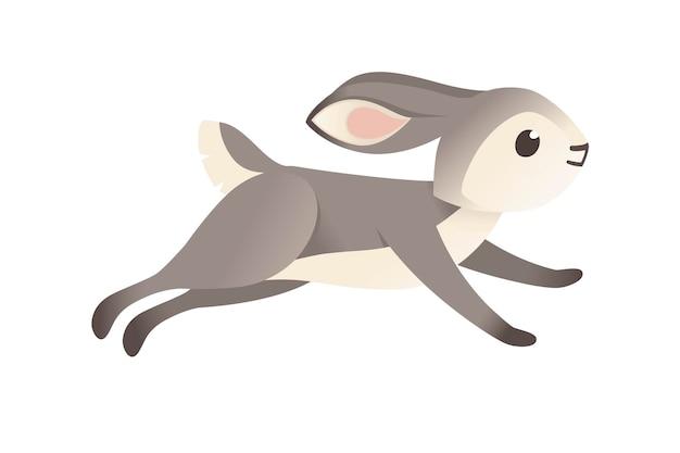 Nettes graues kaninchen, das die flache vektorillustration des karikaturtierdesigns vorwärts läuft, die auf weißem hintergrund lokalisiert wird.