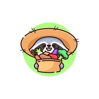 Nettes graues raccoon-logo, das bauernhofhut trägt und gemüse mitbringt