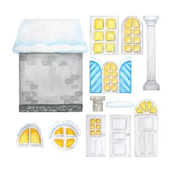 Nettes graues winter-karikaturhaus, hölzerne fenster, türen, konstrukteur auf weißem hintergrund. fantasieillustration. aquarellelemente eingestellt