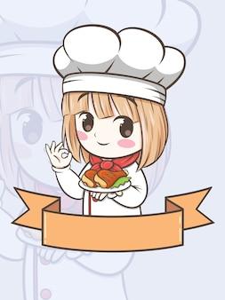 Nettes grillkochmädchen, das ein gegrilltes huhn - zeichentrickfigur und logoillustration hält