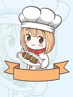Nettes grillkochmädchen, das eine gegrillte rindfleisch - karikaturfigur und logoillustration hält