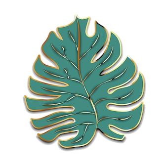 Nettes grünes palmblatt mit goldenem umrissschattenbild lokalisiert auf weiß