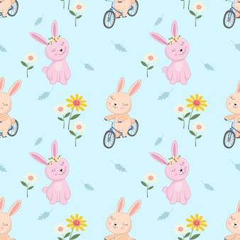 Nettes häschen auf fahrrad in nahtlosem patteen des gartens.