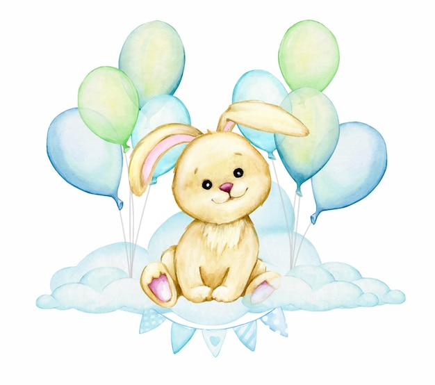 Nettes häschen, das auf einer wolke sitzt, auf einem hintergrund von blauen luftballons. aquarell clipart, cartoon-stil.