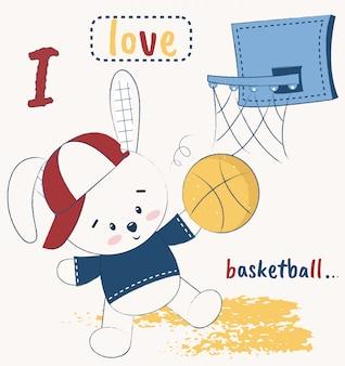 Nettes häschen, das basketball spielt