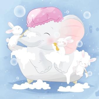 Nettes häschen hilft dem kleinen elefanten, eine dusche zu nehmen