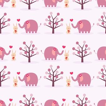 Nettes häschen und elefant im nahtlosen muster der liebe.