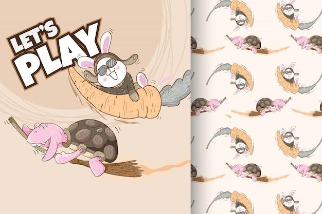 Nettes häschen- und schildkrötenmuster