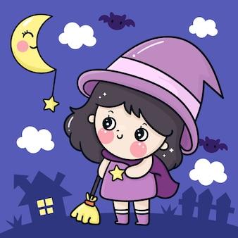 Nettes halloween cartoon tragen hexenkleidlächeln mit mond kawaii charakter Premium Vektoren