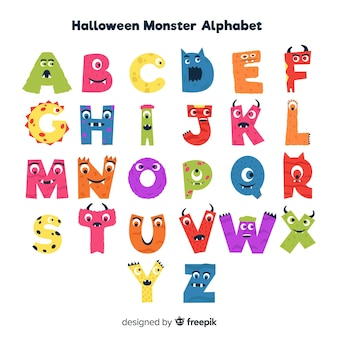 Nettes halloween-monsteralphabet